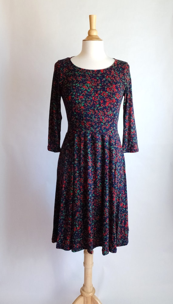 size LARGE Navy blue dress women's long sleeve abstract Print Scoop neck Fit and Flare confetti print 3/4 Sleeve Full Skirt Dress