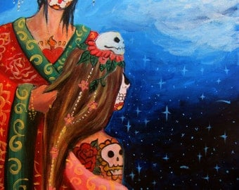 Getting Ready Dia de los Muertos painting art print