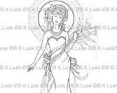 B. K. Lusk - Digital Download Digistamp- Clipart Art Nouveau Goddess Fairy Coloring Page - Tattoo Flash Scrapbook Craft Art