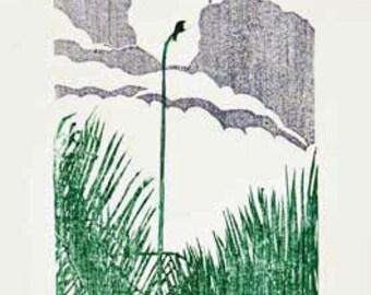 Original Woodcut / Moku Hanga Relief Print / Bird in Palm Tree / by Diane Cutter / SFA