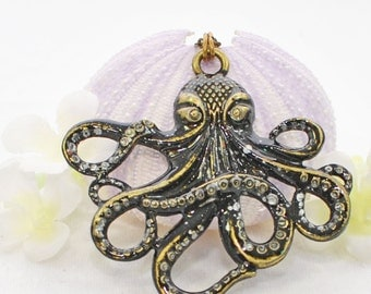 Black Octopus Necklace - Inky the Octopus Pendant - Nautical Jewelry