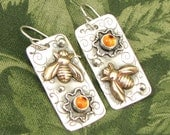 """Brass Bee Earrings """"Coming, Going"""" Sterling with Citrine stones  - OOAK"""