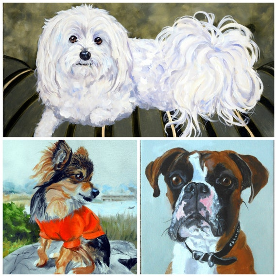 Custom Dog Portrait Painting, Oils on Canvas Pet Portrait