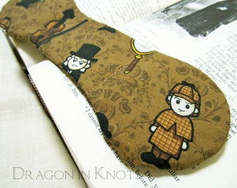 Sherlock Holmes Book Weight - Brown Victorian Literary Gift, Chibi Kawaii Classic Literature Character, Arthur Conan Doyle weighted bookmark