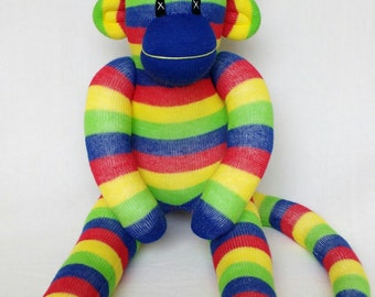 Primary Stripe Sock Monkey (made to order)