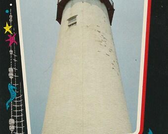 Vintage 1960s Postcard Fenwick Lighthouse Delaware Landmark Island Nautical Photochrome Era Postally Unused