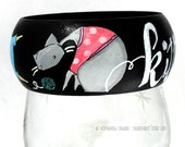 Wooden Bangle Bracelet Cats