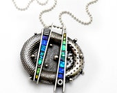 Sterling Silver Pendant with iridescent mosaic inlay polymer clay blues, green purple, textured metal dots balls graphic lines one of a kind