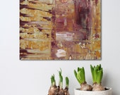 """Small Abstract Painting - Maroon Desert - textured acrylic on wood panel - paint scrape build up - 8x8"""" - Giftable Art - green and orange"""