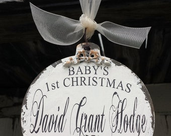 Baby's FIRST CHRISTMAS ORNAMENT | Personalized Christmas Ornament | Baby Ornament | Baby Gift | Milestone Idea | Rustic |MyPrimitiveBoutique