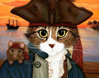 Pirate Cat Rat Art Cat Portrait Cat Painting Maine Coon Cat Sunset Captain Leo Fantasy Cat Art Print 8x10 Cat Lovers Art