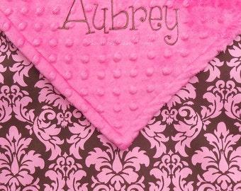 Baby Blanket Baby Girl Blanket , Personalized Baby Blanket , Baby Girl Blanket , Minky Dot and Damask Blanket - Newborn Photo Prop