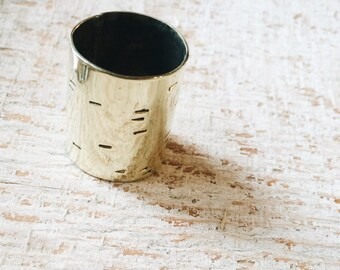 b i r c h l i n e cigar band ring - for woodland meditation