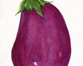 Eggplant Watercolor Painting Original Aubergine 5 X 7 Food Art Eggplant Painting Kitchen