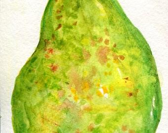 Green Pear Watercolors Paintings original, food art, fruit artwork, watercolor painting original, kitchen decor, Pear watercolors 4 x 6