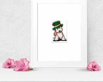 ORIGINAL Art Mad Hatter Cairn Terrier 8x10 Matted ACEO