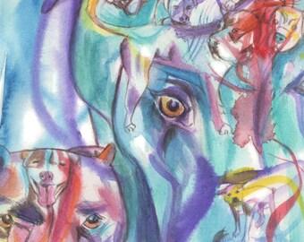 Pit Bull Terrier Art, Pit bull Terrier Fine Art Print, modern dog art, Pittie print, custom pit bull portrait, pit bull decor