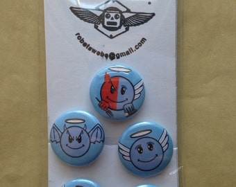 A set of (5) 1 inch Angel and Devil Emoji buttons