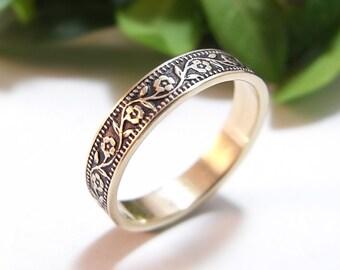 Womens Wedding Band, Womens Wedding Ring, 14k White Yellow or Rose Gold Band, Petunia Floral Wedding Band, Gold Ring, Skinny Band