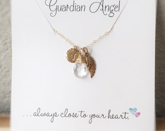 Memory Necklace, Sympathy Gift, Guardian Angel Necklace, Miscarriage Necklace, Angel Necklace, Wing Necklace, Birthstone, Initial Charm