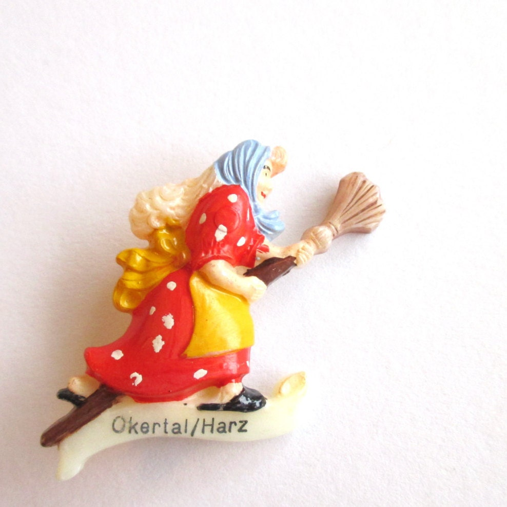 Sale Vintage Witch Novelty Brooch Cute Brooch Germany Hat Pin