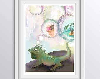 Iguana illustration - animal wall art - Alphabet Art for children - fine art print for children's rooms