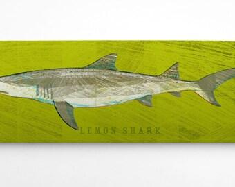 Boyfriend Gifts- Fish Gifts for Husband- Shark Decor- Lemon Shark Art Block- Shark Wall Art-Beach Theme Bedroom- Fish Art- Lemon Shark Print