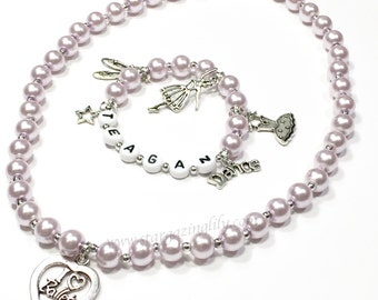 Ballet Dance Jewelry Dance charm bracelet Ballet Charm necklace Personalized Pearl Name Jewelry Name bracelet necklace set Gift for a Dancer