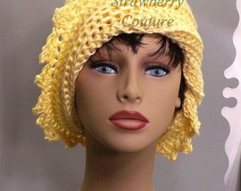 Buttercup Yellow Crochet Hat Womens Hat, Summer Hat for Women, Crochet Beanie Hat, Buttercup Yellow Hat, Cotton Beanie Hat, LAUREN