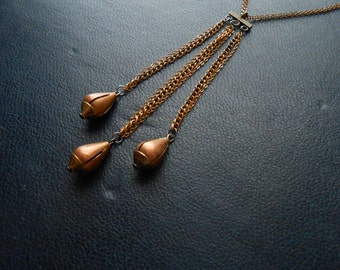 reduced - equinox - fall inspired copper brass tear drop tassel necklace - indie edgy handmade brass layering jewelry