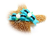 Turquoise Dog Hair Bows with Spring Flower