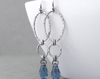 Long Silver Earrings Silver Drop Earrings Sapphire Earrings Silver Jewelry September Birthstone Jewelry Gift for Women - Adorned Aubrey