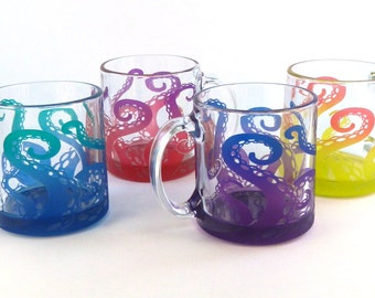 Octopus Tentacles Coffee Mugs - Set of 4 - Etched and Painted Glassware - Custom Made to Order