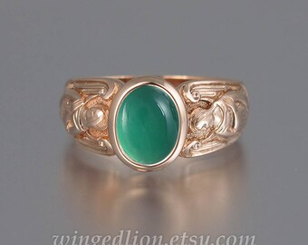 GUARDIAN ANGELS 14k rose gold ring with Green Onyx