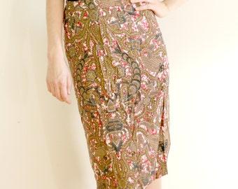 Abstract Print Midi Length Pencil Skirt - Vintage 80s, Women's Size 6