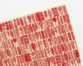 Totem - Red - Hand Screenprinted Fabric - Summersville - 9.5 x 14 inches - Destash