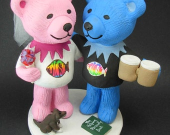 Phish Fan's Wedding Cake Topper, Custom Made Grateful Dead Dancing Bears Wedding Cake Topper, Jerry Bear Wedding Cake Topper