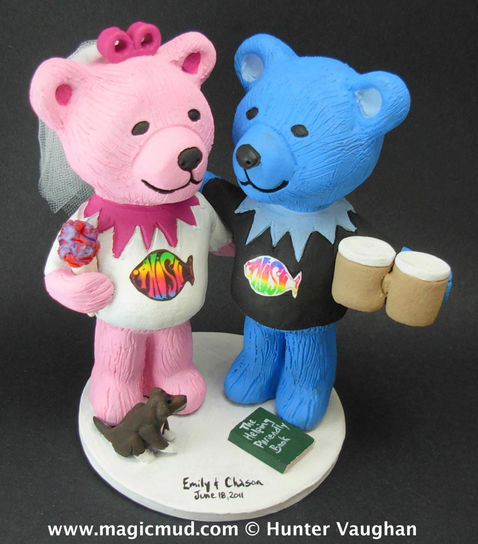 Phish Fans Wedding Cake Topper Custom Made Grateful Dead Dancing Bears Jerry Bear