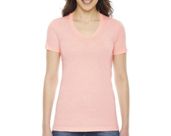 American Apparel Blanks | Favorite Poly-Cotton Short Sleeve Women's T-Shirt | Apricot Peach Scoop-neck