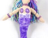 Mermaid Doll - Purple Mermaid Art Doll - Toy Mermaid Doll