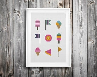 summer fun ice cream cross stitch pattern ++ vintage retro modern ++ pdf  INsTAnT DOwNLoAD ++ diy ++ hipster ++ handmade design