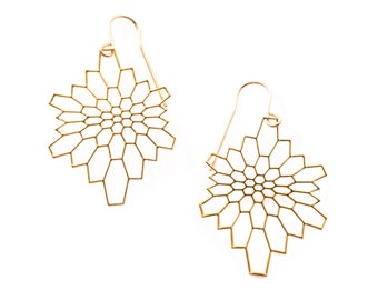 Network Earrings (gold)  // geometric jewelry // art - science - nature // minimalist