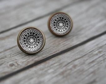 Boho Earrings, Mandala, Tribal Earrings, Brass Earrings, Dangle Earrings, Black and White, Resin Earrings, Post Earrings, Resin Studs,