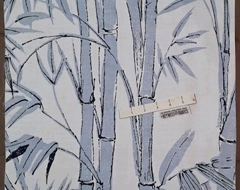 KEY WEST Fabric ~ BAMBOO Tropical Hand Screen Design Blue & White Pillow Panel Lot