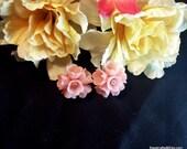 Plastic Pink Flower Screw Back Earrings, Vintage Pink Screw Back Earrings, Gift For Her, Birthday Gift