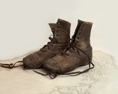Victorian Child's Brown Leather Boots, Antique Youth or Toddler Lace Up Shoes, Primitive Home Decor, Cottage Chic Display