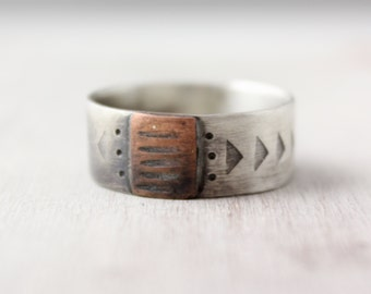 Rustic Copper and Silver Stamped Band Ring