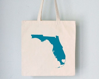 Custom Promo Tote - STATE LOVE -  any state custom silhouette with heart over your city on natural bag