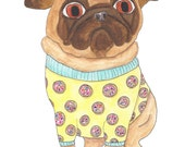 Donut Pug Art Print, Cute Pug Home Decor, Dog Watercolor Print, Funny Animal Art, Kids Room Wall Art, Quirky Gifts, Gifts for Dog Owners