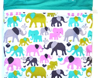 Kitchen or Stroller Wet Bag with Two Top Snap Straps / Elephant Walk Fabric /  SEALED SEAMS